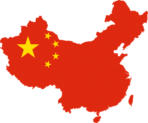 map-of-china-and-flag